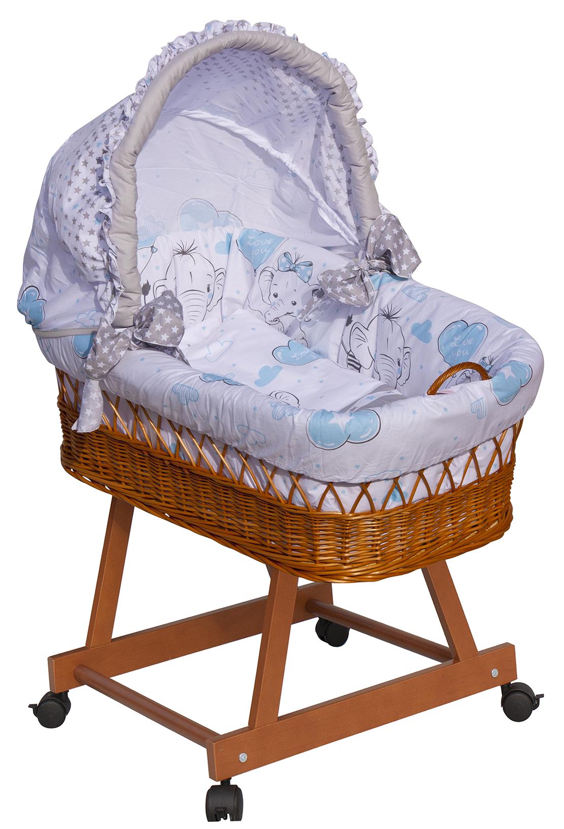 Proutěný košík na miminko s boudičkou Scarlett Gusto - modrá