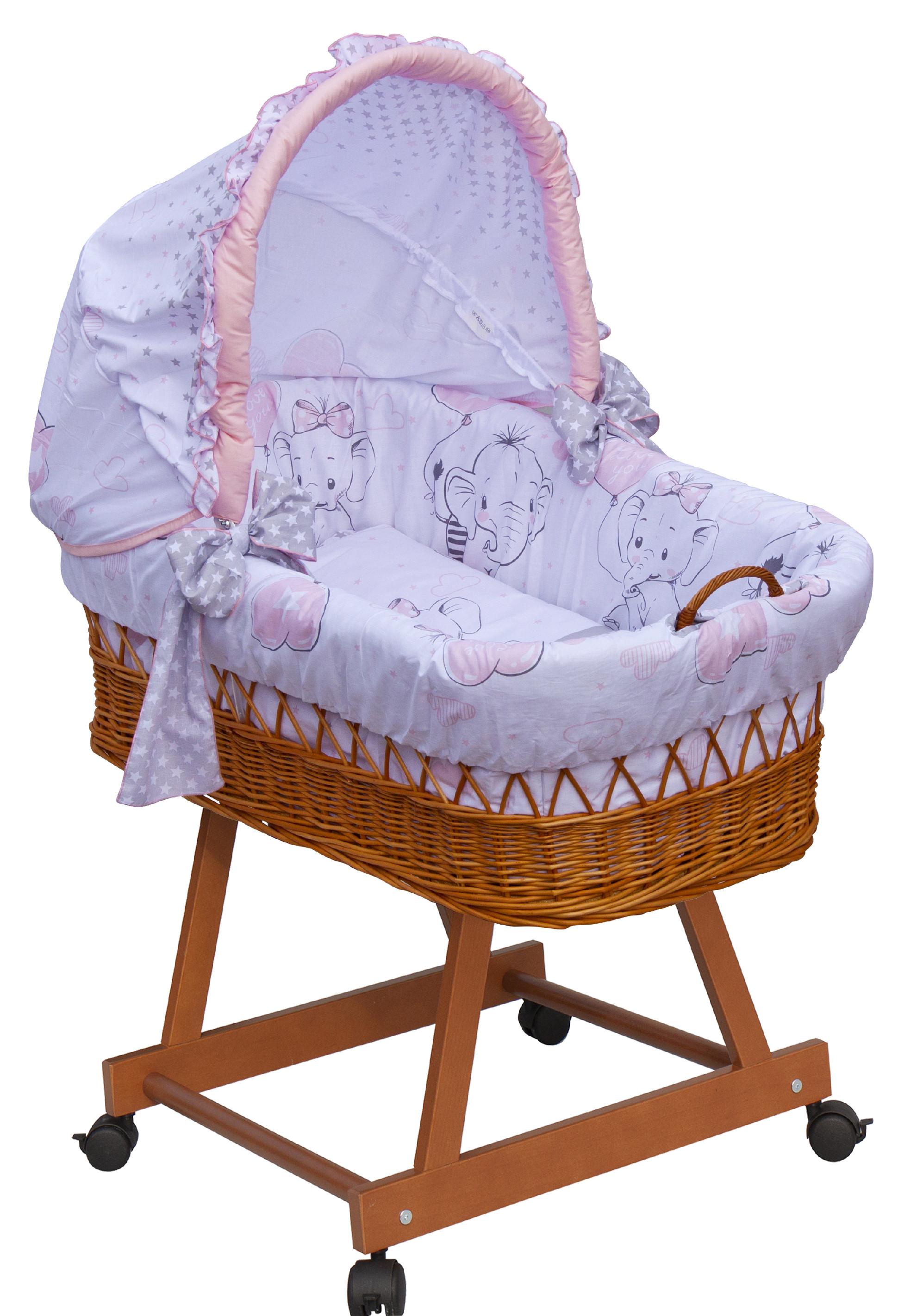 Proutěný košík na miminko s boudičkou Scarlett Gusto - růžová