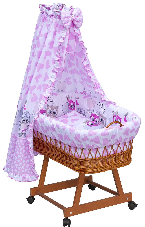 Proutěný košík na miminko s nebesy Scarlett Kulíšek - růžová