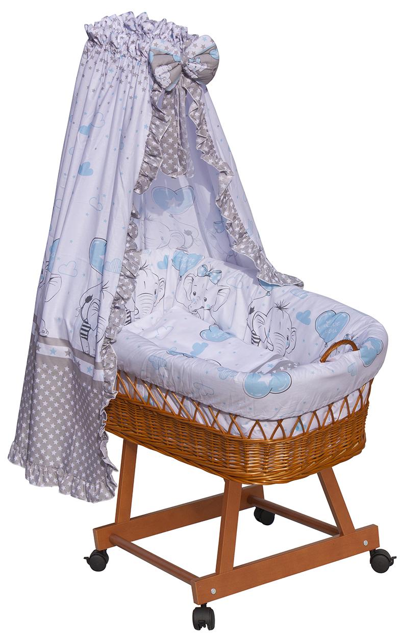 Proutěný košík na miminko s nebesy Scarlett Gusto - modrá