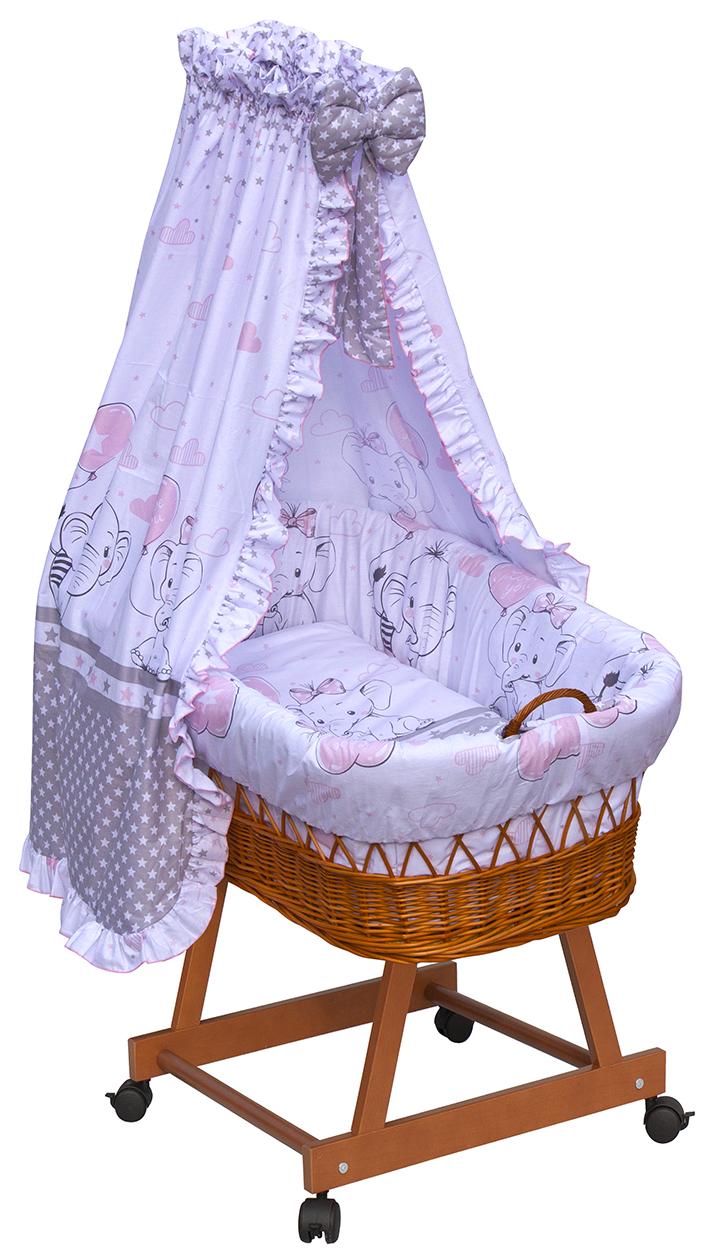 Proutěný košík na miminko s nebesy Scarlett Gusto - růžová