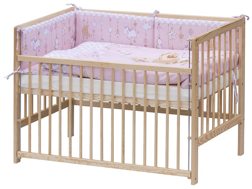 Scarlett dětská postýlka 120 x 60 cm s kompletní výbavou Grisi - růžová