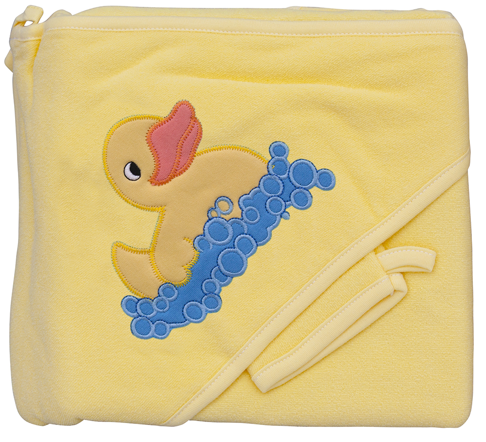 Froté ručník - Scarlett kačenka s kapucí - žlutá