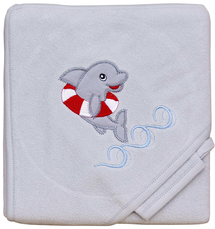 Froté ručník - Scarlett delfín s kapucí - šedá