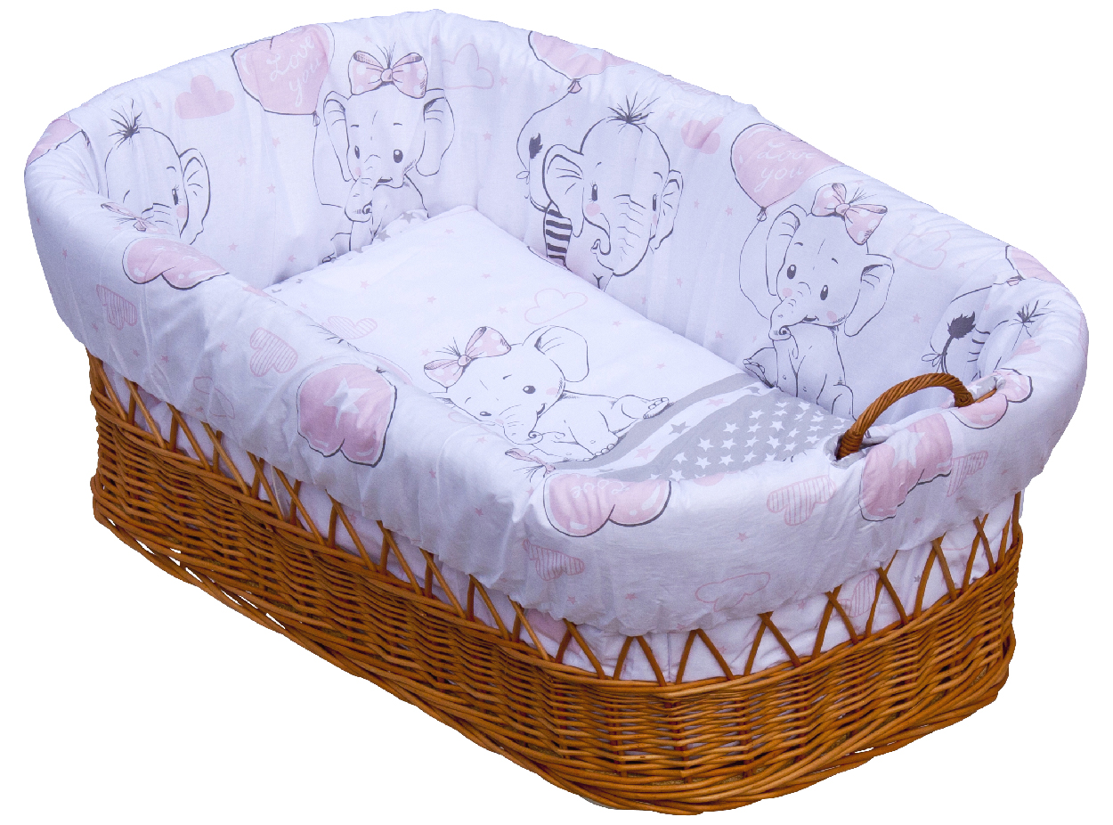 Proutěný košík na miminko Scarlett Gusto - růžová