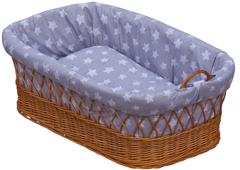 Proutěný košík na miminko Scarlett Hvězdička - šedá