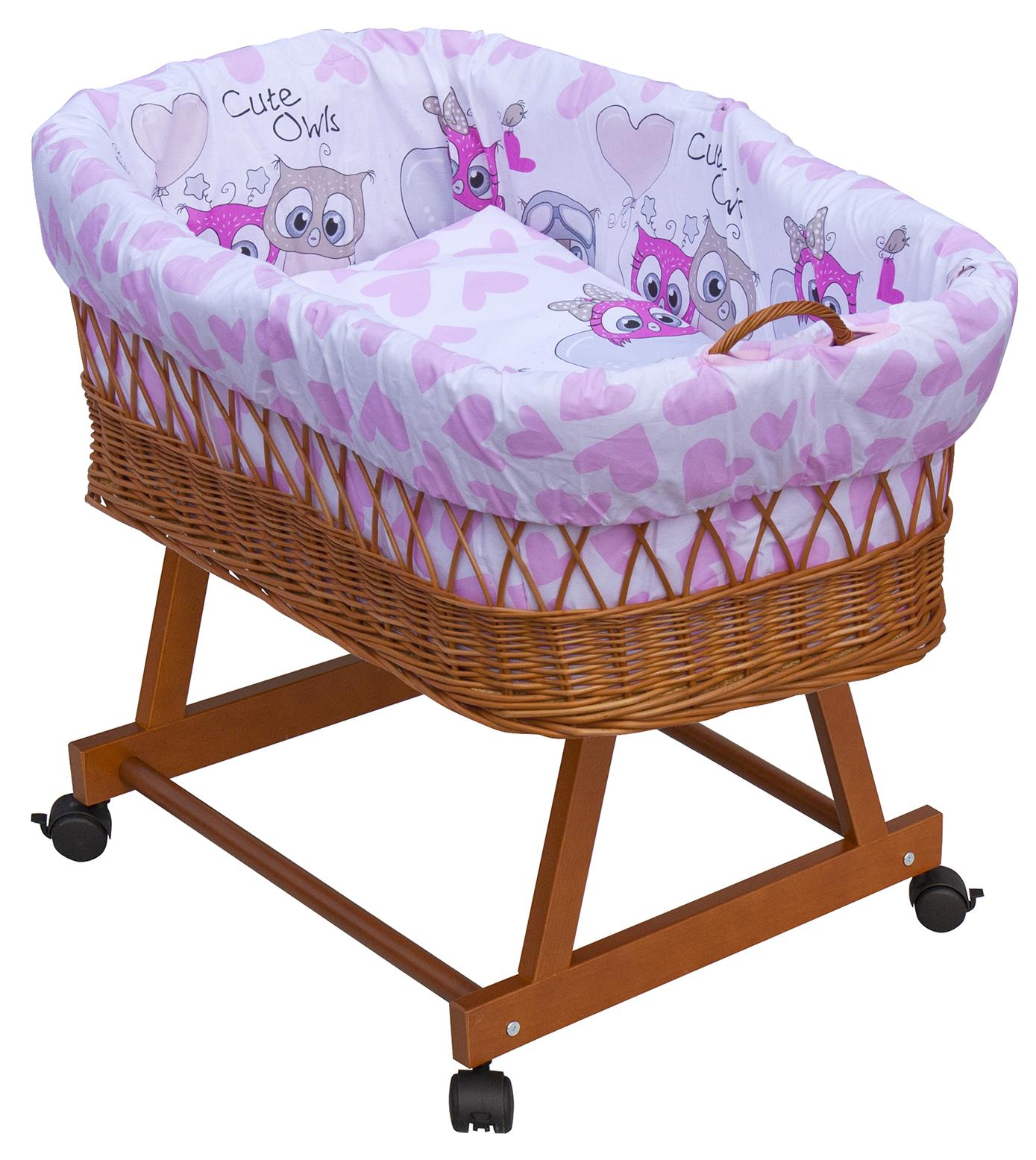 Proutěný košík na miminko Scarlett Kulíšek - růžová