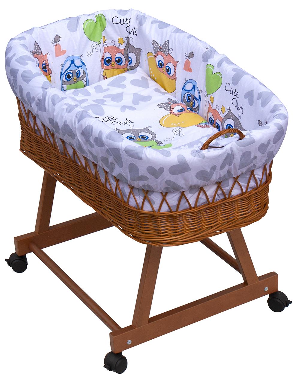 Proutěný košík na miminko Scarlett Kulíšek - šedá