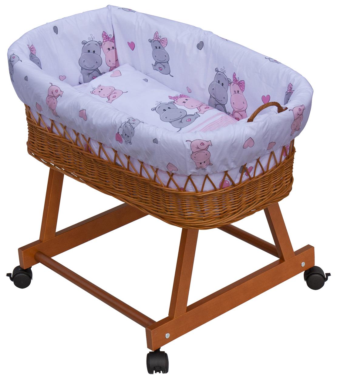 Proutěný košík na miminko Scarlett Pupis - růžová