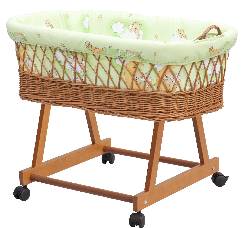 Proutěný košík na miminko Scarlett Mráček - zelená