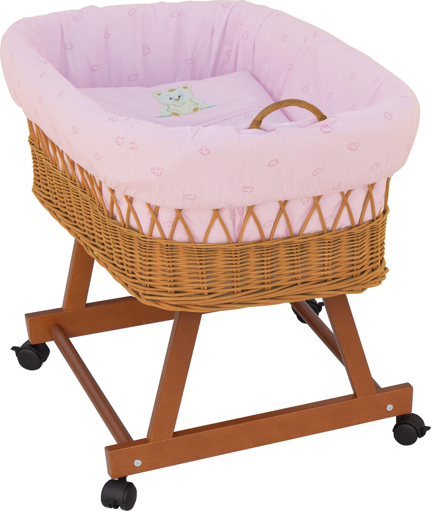 Proutěný košík na miminko Scarlett Méďa - růžová