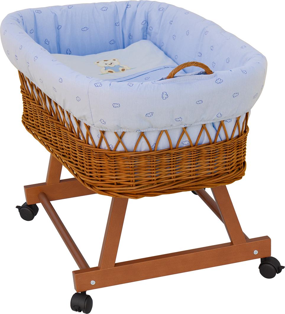 Proutěný košík na miminko Scarlett Méďa - modrá