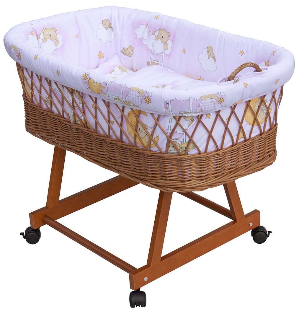 Proutěný košík na miminko Scarlett Mráček - růžová