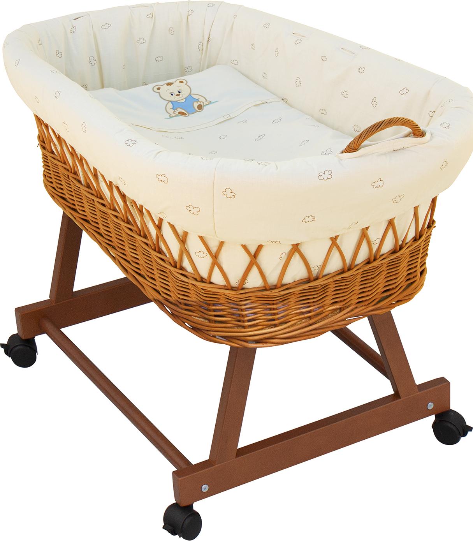 Proutěný košík na miminko Scarlett Méďa - béžová