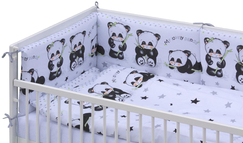 Scarlett, Postýlka 140 x 70 cm s kompletní výbavou Panda - bílá