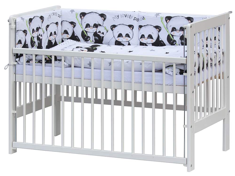 Scarlett, Postýlka 120 x 60 cm s kompletní výbavou Scarlett Panda - bílá