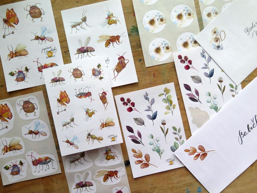Papírové samolepky do diářů, na obálky a k dalšímu papírovému tvoření