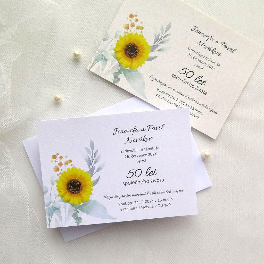 oznameni k vyroci svatby v030 slunecnice s listy