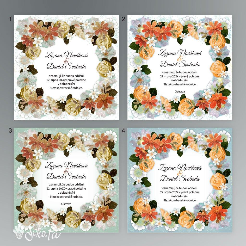 svatební oznámení V025 čtverec (barva 1 bílá/tlumená)