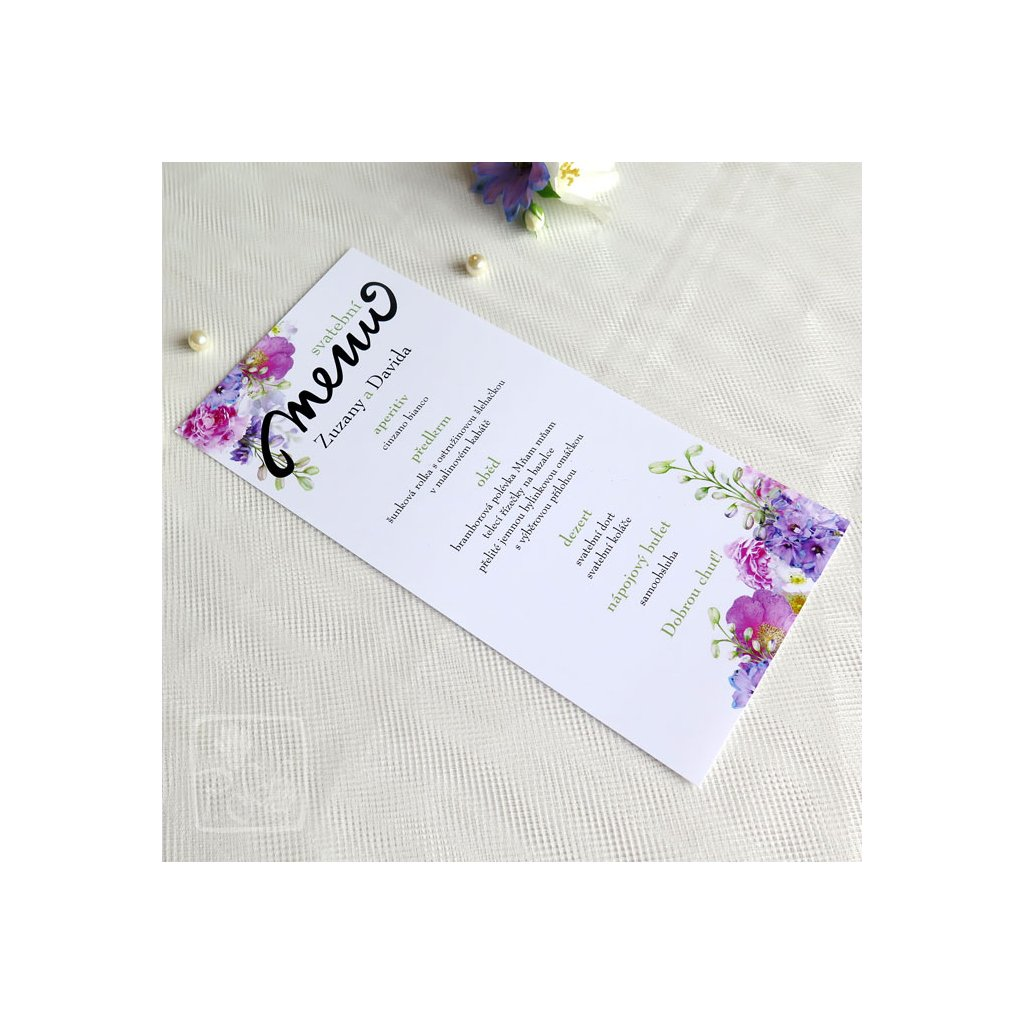 menu na křídovém papíru