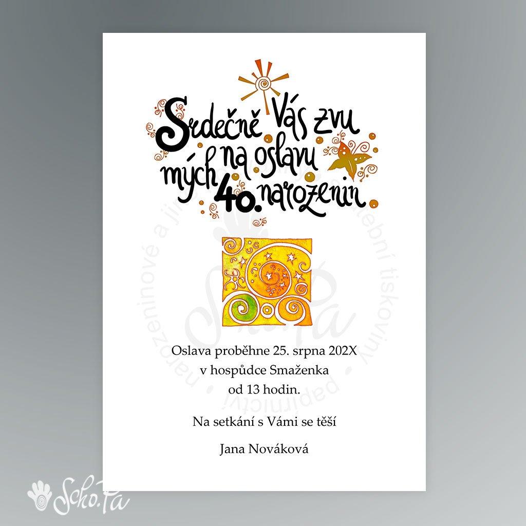 pozvanka s kaligrafií a ornamentem