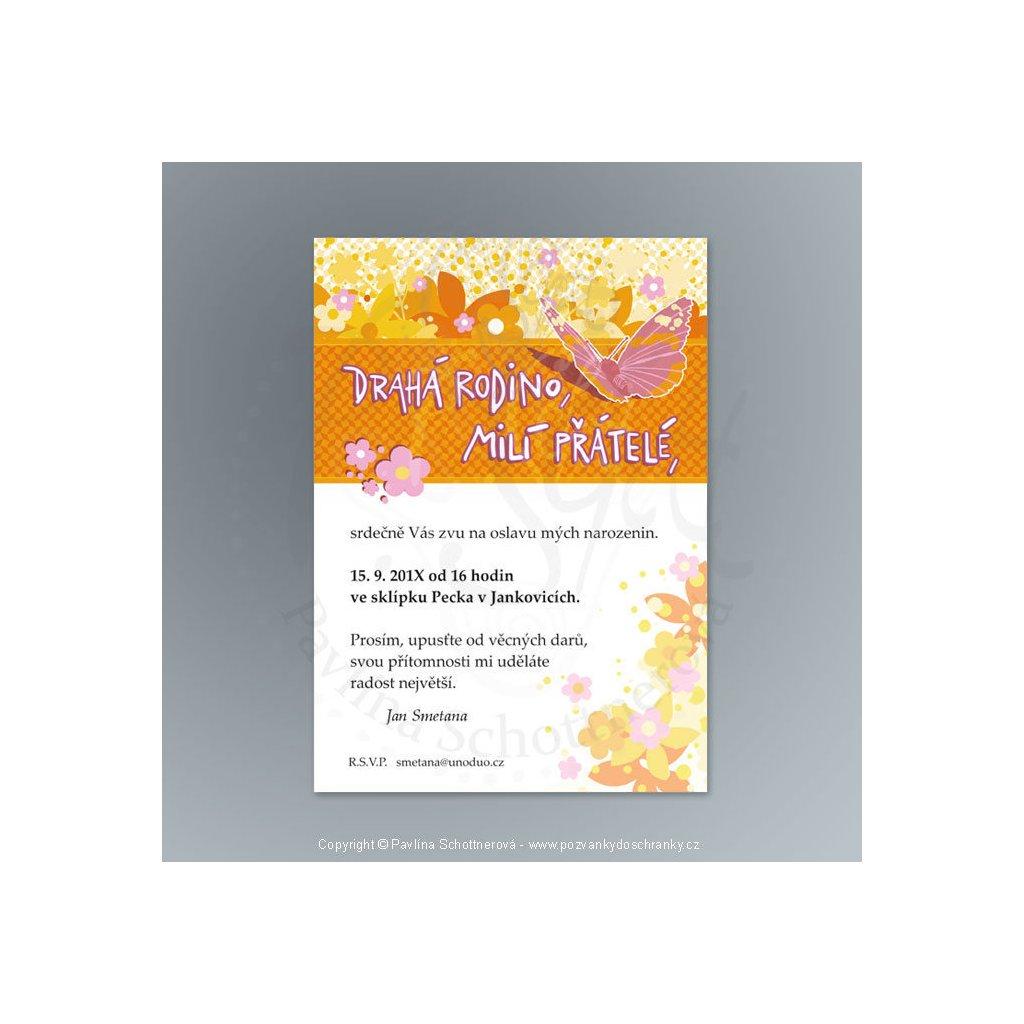 pozvánka V175 A6 (varianta Drahá rodino, milí přátelé,, barva oranžová)
