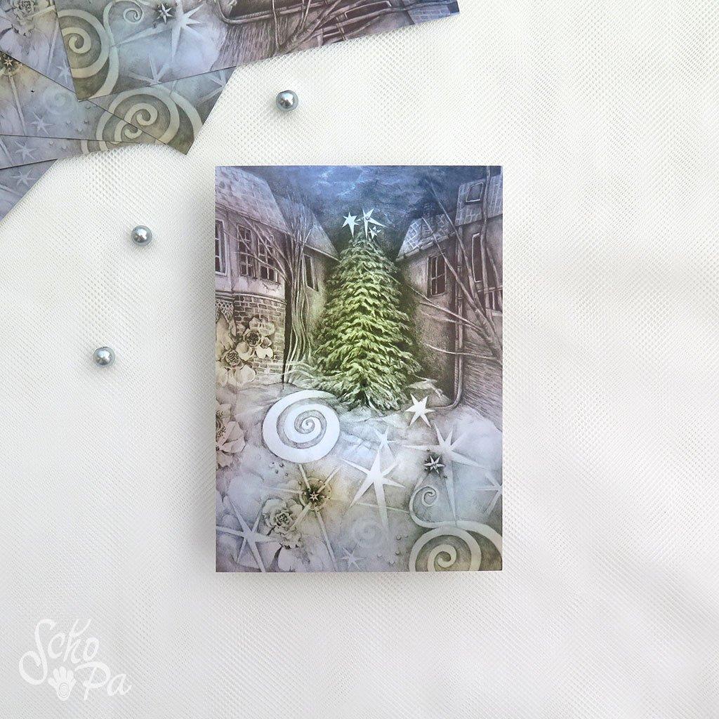 vánoční pohlednice se stromem