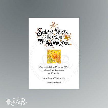 pozvanka s kaligrafií a ornamentemA6