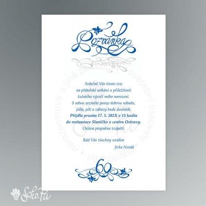 pozvanka s ozdobnym napisem modra