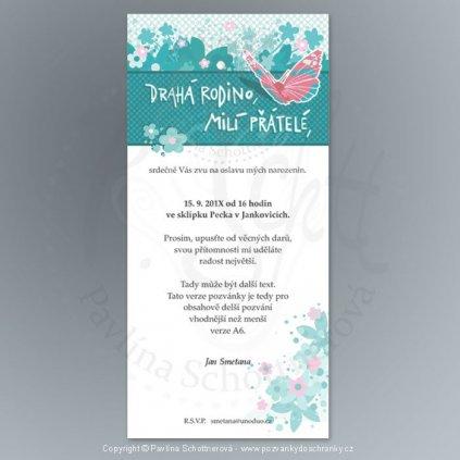 pozvánka V175 10x21 (varianta Drahá rodino, milí přátelé,, barva oranžová)