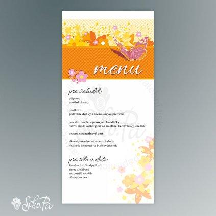 menu s motylem oranz