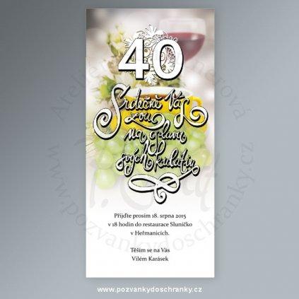pozvánka V169 (papír papír struktura plátno 246 g/m², výročí 30, heslo Srdečně Vás zvu na oslavu svých kulatin)