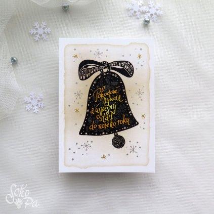 vanocni karta retro zvonek cerny