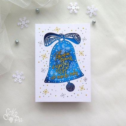vanocni karta zvonek modry