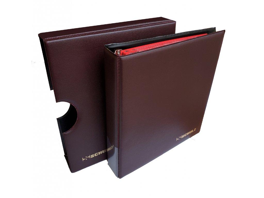 Album na mince s kazetou + 10 listů a mezilistů, červená barva