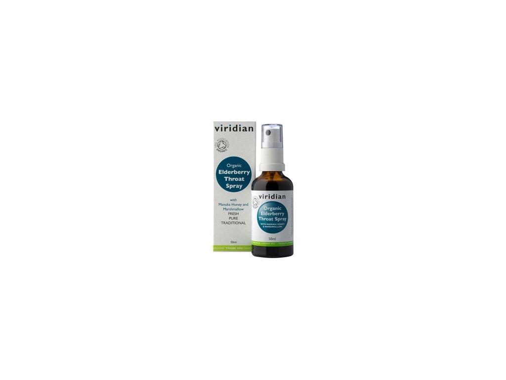 Elderberry Throat Spray 50ml Organic (Sprej při bolesti v krku a kašli Bio)
