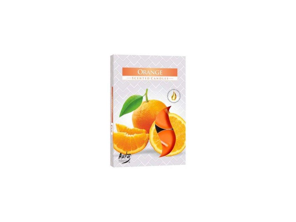 Čajová vonná svíčka Pomeranč 6ks