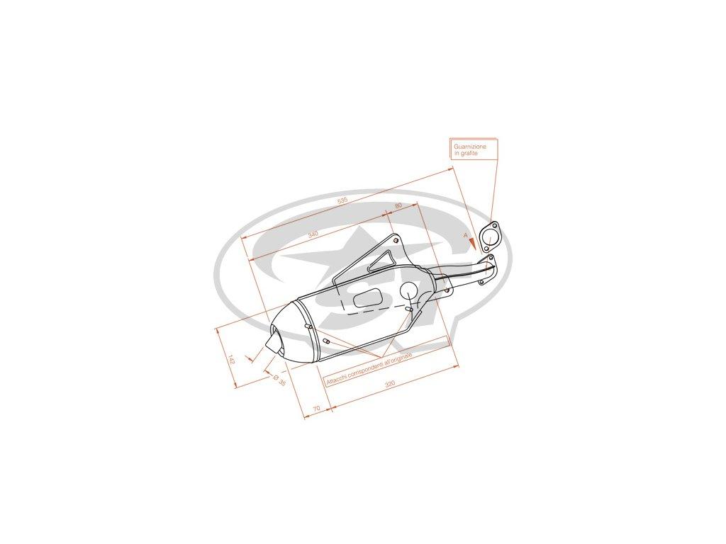 Výfuk LeoVince Sito Plus, Piaggio Skipper 125-150ccm 2T