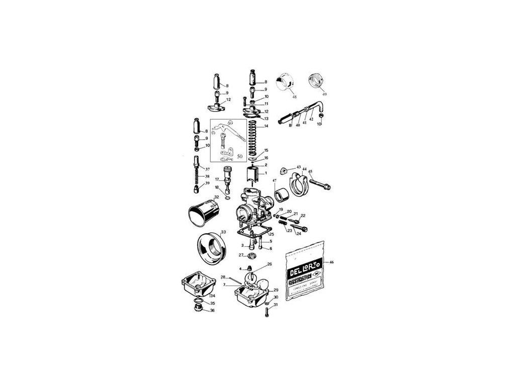 Nahradní díly karburátoru DellOrto PHBG