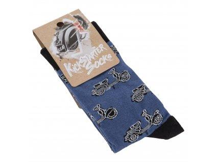Ponožky Vespa Kickstarter, modrá/černá, unisex, 31-46