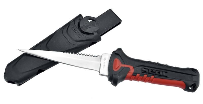 Nůž Seac Katan Daga inox červený s pouzdrem