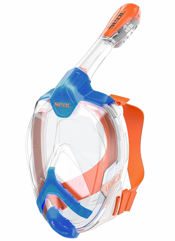Modro-oranžová šnorchlovací celoobičejová maska Seac Unica