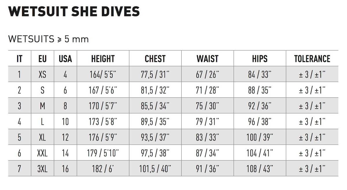 Velikostní tabulka potápěčských neoprénů Mares