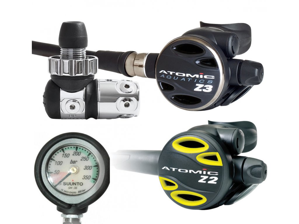 Set Atomic Aquatics Z3 DIN + octopus Z2 + manometr Suunto