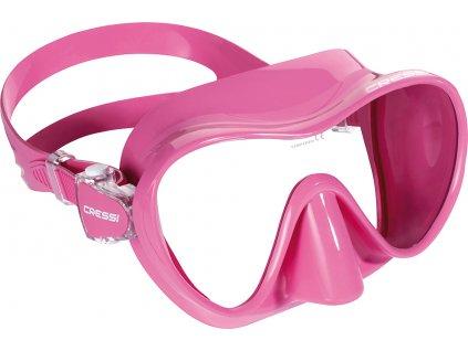 Maska na šnorchlování Cressi F1 Small Frameless růžová