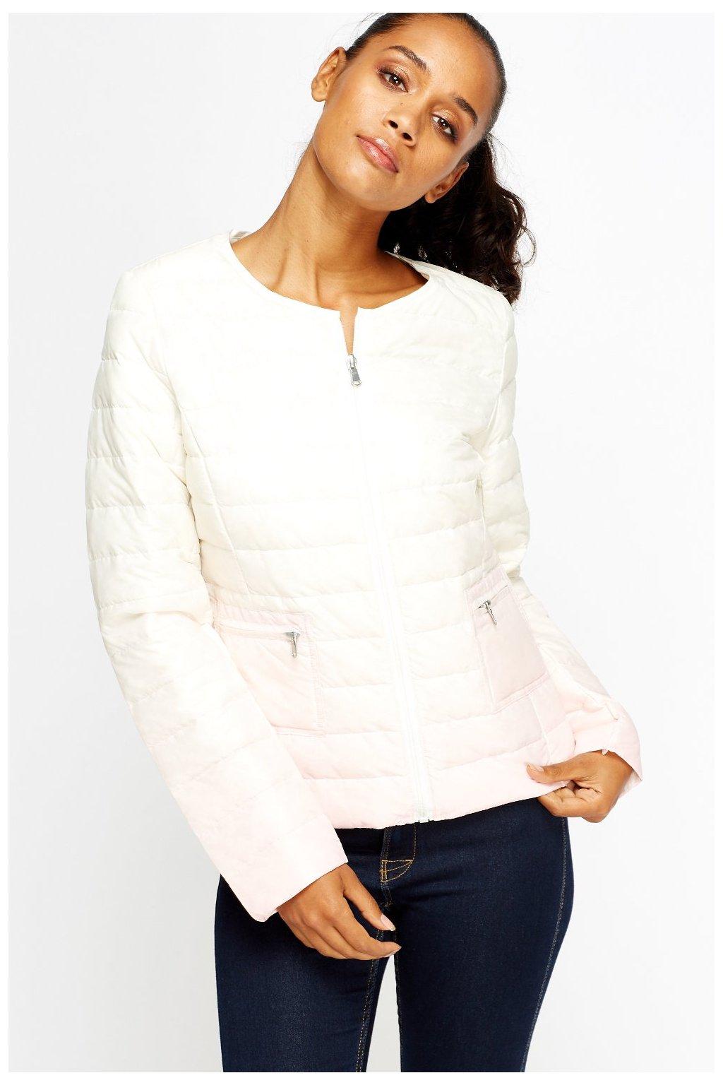 Péřová přechodová bunda růžové ombré
