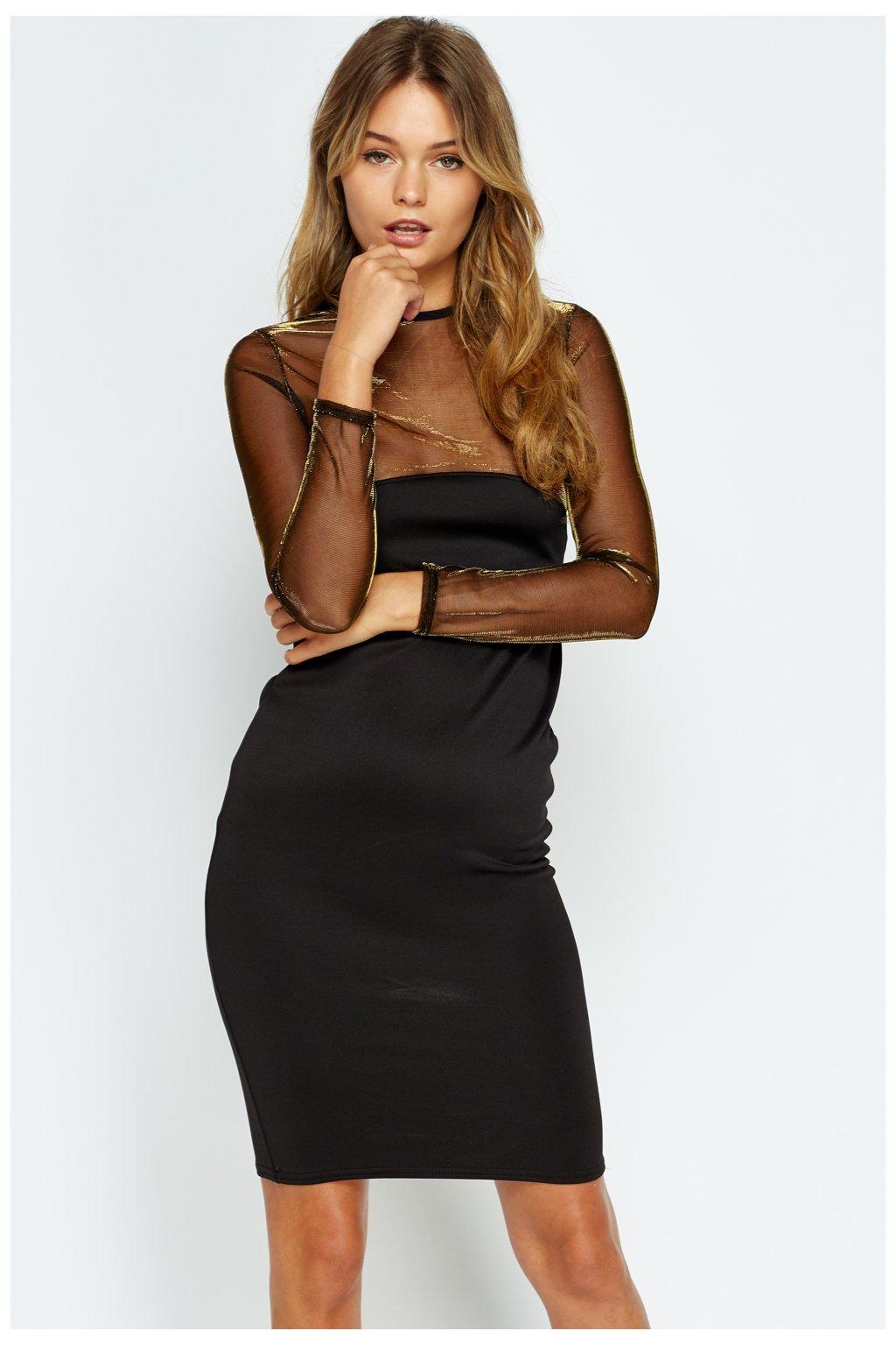 Černé společenské šaty se zlatým síťováním