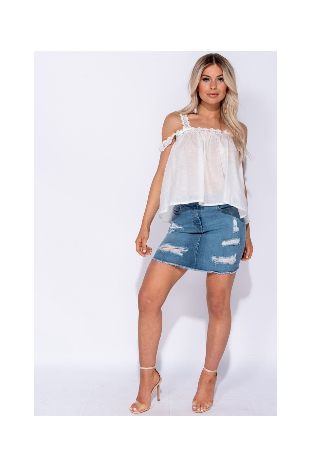 lace trim cold shoulder top p6711 241451 image