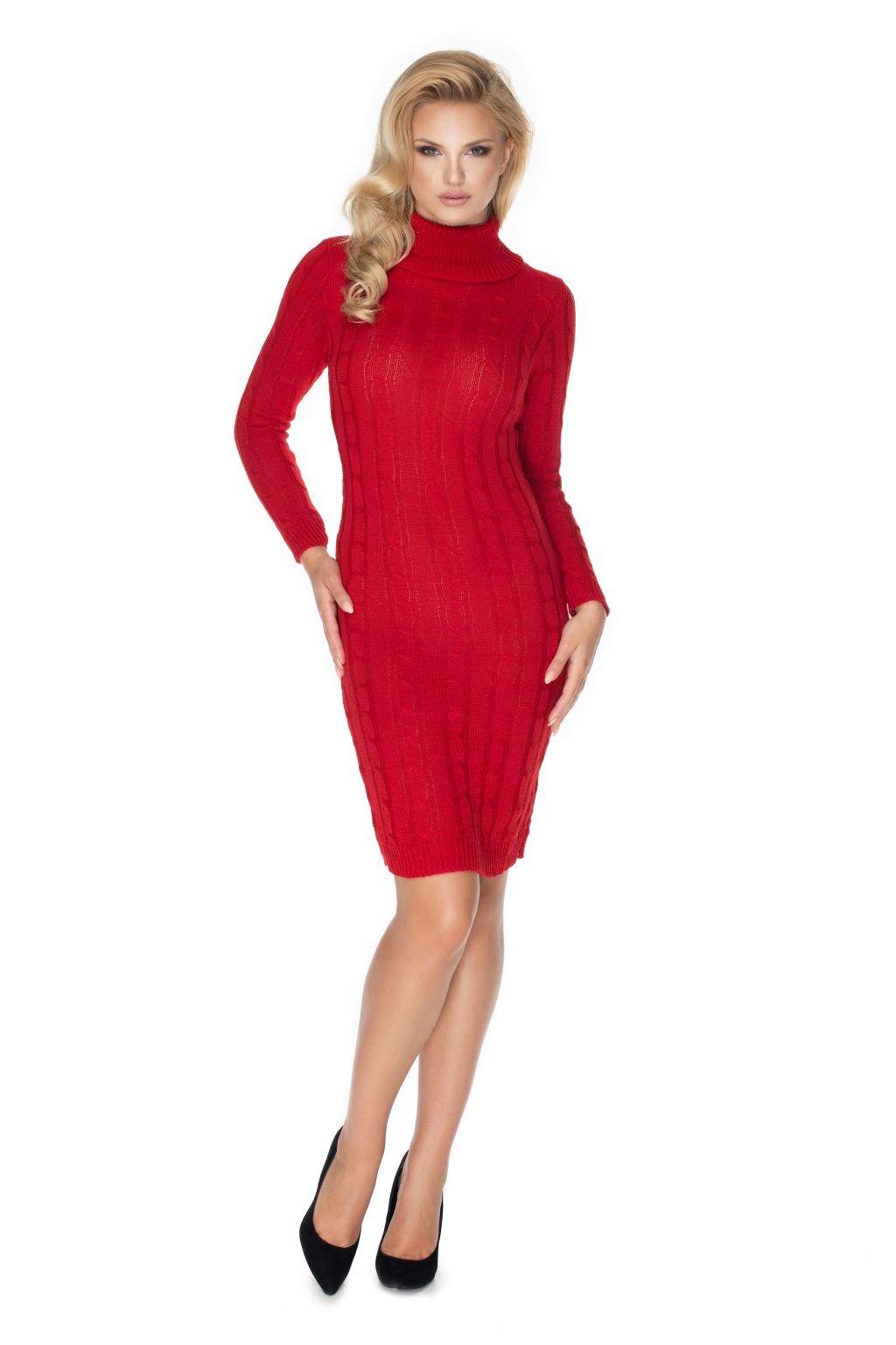 Pletené šaty s rolákem PeeKaBoo 40037 červené