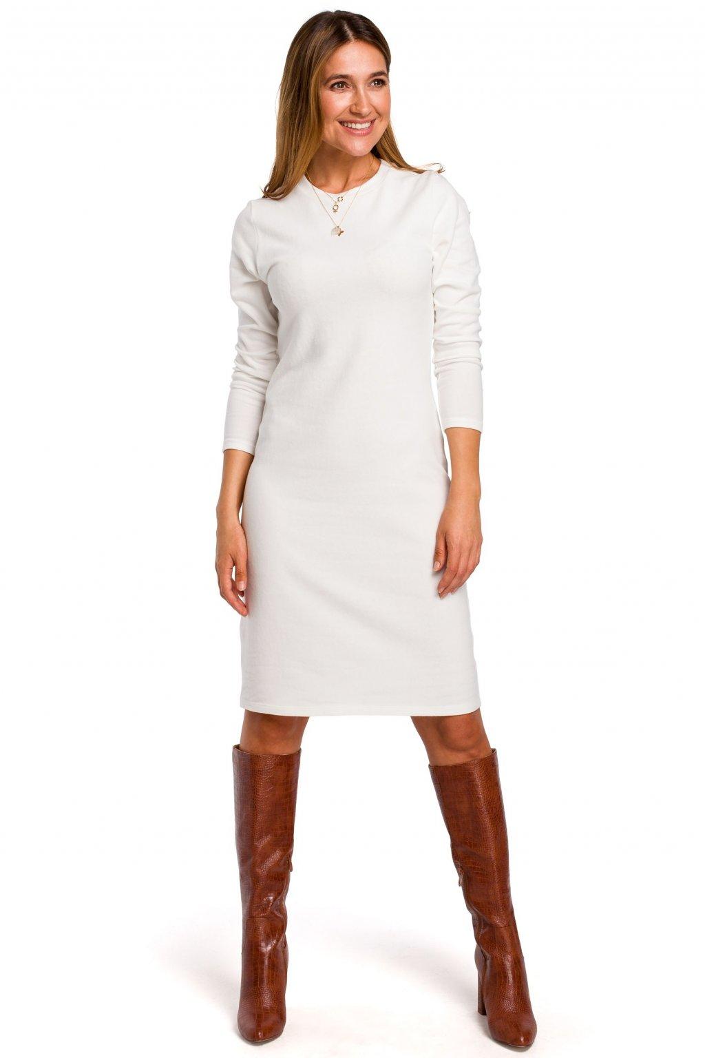 Úpletové šaty Style S178 smetanové